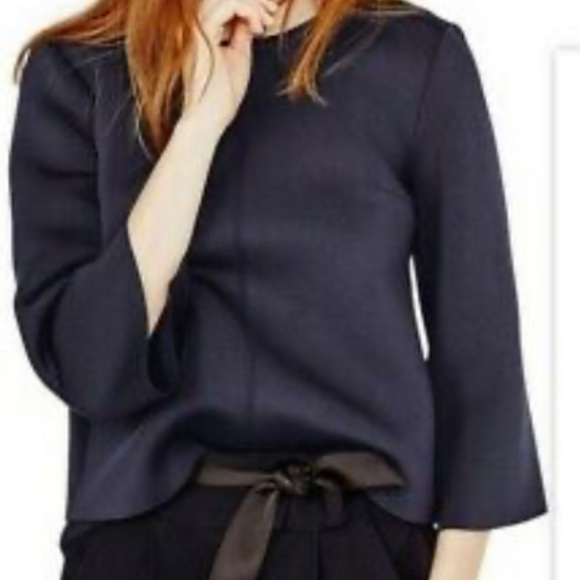 Maje Navy Top with Zip up Back